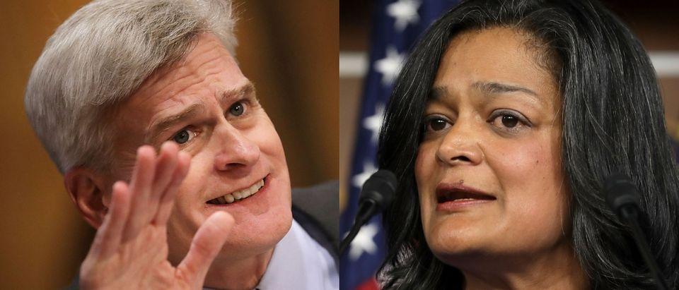 Sen. Bill Cassidy opposes Rep. Pramila Jayapal's Medicare-for-all plan. Both images Chip Somodevilla/Getty Images