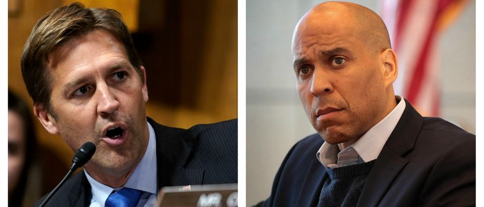 "Republican Nebraska Sen. Ben Sasse fired back on Wednesday after Democratic New Jersey Sen. Cory Booker stated that eating meat is unsustainable and vowed to fight against ""industrial agriculture."" LEFT: Andrew Harnik - Pool/Getty Images RIGHT: Scott Olson/Getty Images"