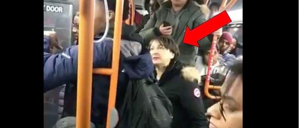Bus Lady (Credit: Screenshot/Twitter Video https://twitter.com/blogTO/status/1095074058629275648)