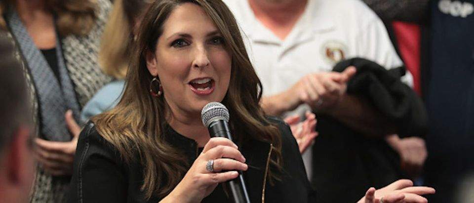 Chairwoman Ronna McDaniel of the Republican National Committee speaks in support of Republican U.S. Senate candidate Josh Hawley during a campaign stop