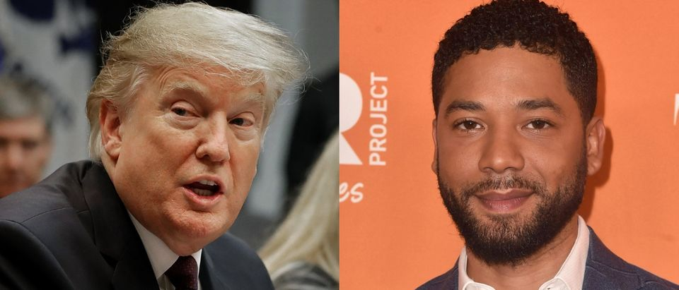 President Donald Trump (L) weighed in on actor Jussie Smollett's alleged hate crime hoax on Feb. 21, 2019. Chip Somodevilla/Getty Images and Alberto E. Rodriguez/Getty Images