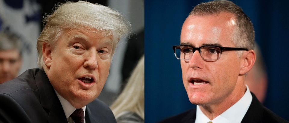 President Donald Trump (L) has called ex-acting FBI Director Andrew McCabe a 'puppet.' Chip Somodevilla/Getty Images and JIM WATSON/AFP/Getty Images