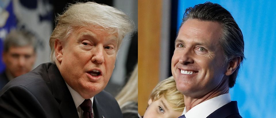 President Donald Trump (L) took aim at California Gov. Gavin Newsom's high-speed rail project on Twitter Feb. 13, 2019. Chip Somodevilla/Getty Images and Stephen Lam/Getty Images