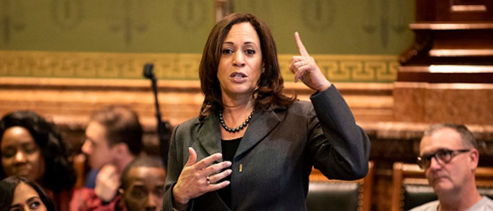 Democratic presidential candidate Sen. Kamala Harris (D-CA) fields questions at the Asian and Latino Coalition at the Iowa Statehouse on February 23, 2019 in Des Moines, Iowa