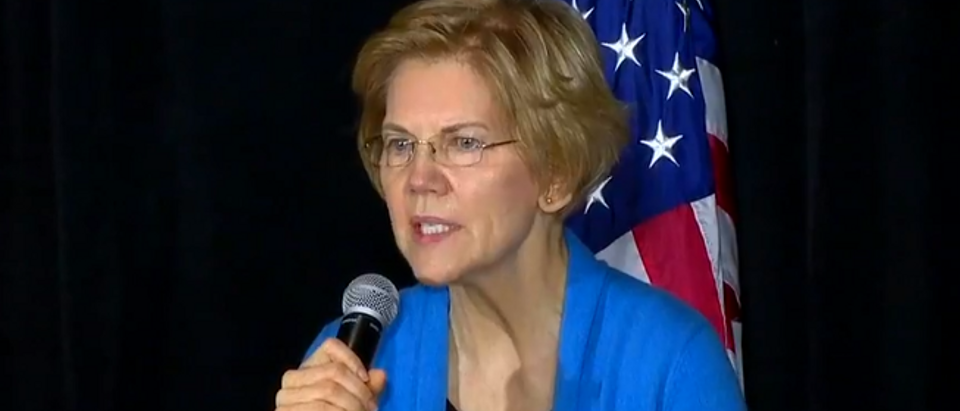 Elizabeth Warren at Sunday campaign rally (Fox News screengrab)