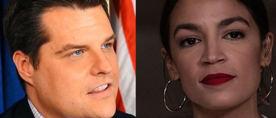 Left: Rep. Matt Gaetz (R-FL), Credit Daily Caller -- Right: Rep. Alexandria Ocasio-Cortez (D-NY), Credit, Photo by Cheriss May/NurPhoto via Getty Images