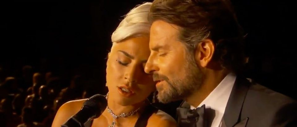 Bradley Cooper, Lady Gaga (Credit: Screenshot/Twitter Video https://twitter.com/LightsCameraPod/status/1099871387563507712)