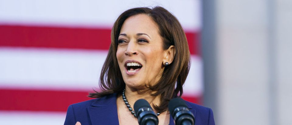 U.S. Senator Kamala Harris speaks to her supporters during her presidential campaign launch rally in Frank H. Ogawa Plaza on January 27, 2019, in Oakland, California. (Photo by Mason Trinca/Getty Images)