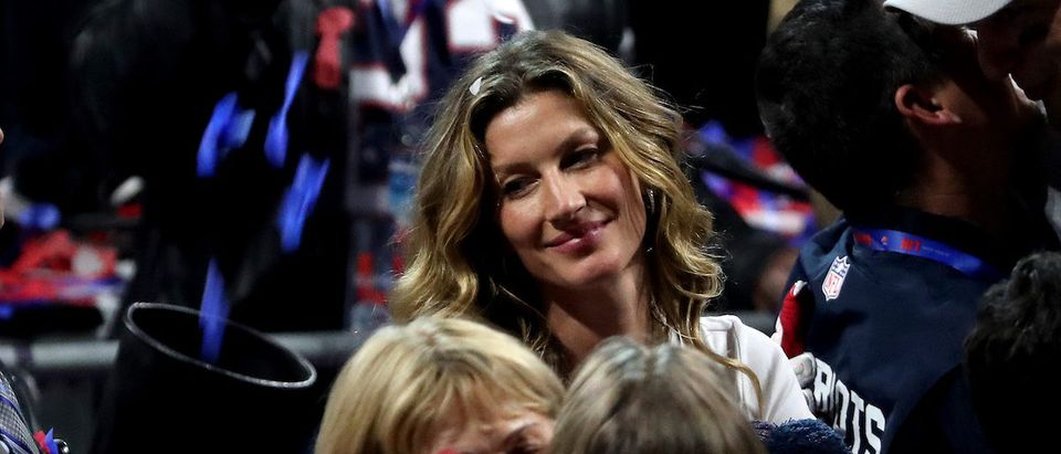 Gisele Bundchen celebrates New England Patriots 13-3 defeat over Los Angeles Rams during Super Bowl LIII at Mercedes-Benz Stadium on February 03, 2019 in Atlanta, Georgia. (Photo by Streeter Lecka/Getty Images)