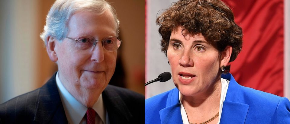 Could Democrat Amy McGrath challenge Senate Majority Leader Mitch McConnell in 2020? JIM WATSON/AFP/Getty Images and Jason Davis/Getty Images