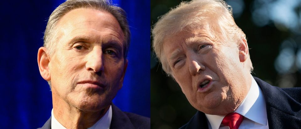 Potential 2020 presidential candidate Howard Schultz took a subtle dig at President Donald Trump during a speech at Purdue University in West Lafayette, Indiana, on Feb. 7, 2019. JOHANNES EISELE/AFP/Getty Images and Chris Kleponis - Pool/Getty Images