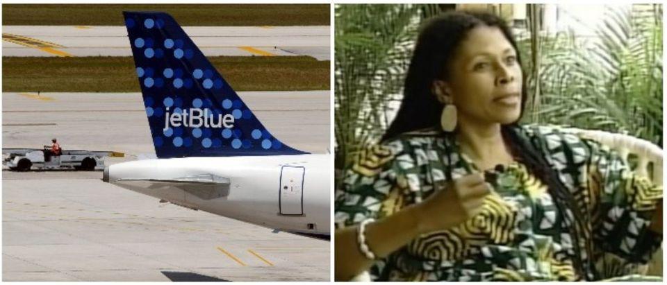 JetBlue and Assata Shakur (LEFT: Joe Raedle/Getty Images RIGHT: YouTube screenshot from Newsy)