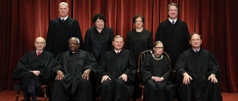 The justices of the Supreme Court pose for their official portrait on November 30, 2018. (Photo by Chip Somodevilla/Getty Images)