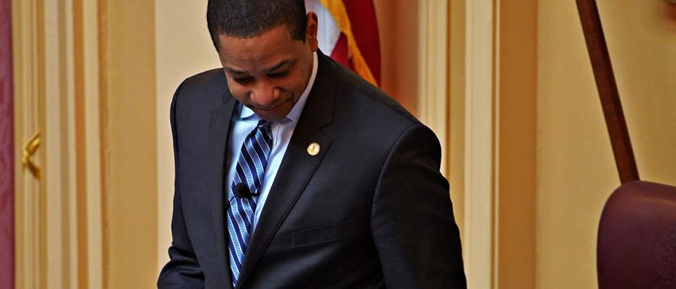 Justin Fairfax, the Lieutenant Governor of Virginia, opens the state's Senate meeting during a session of the General Assembly in Richmond, Virginia, U.S, February 8, 2019. Picture taken February 8, 2019. REUTERS/Jay Paul