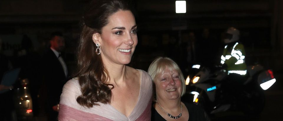 Catherine, Duchess of Cambridge, patron of 100 Women in Finance's Philanthropic Initiatives, and Colonel Jane Davis, Her Majesty's Vice Lord Lieutenant of Greater London, attend a Gala Dinner at the Victoria and Albert Museum on February 13, 2019 in London, England. (Photo by Chris Jackson - WPA Pool/Getty Images)