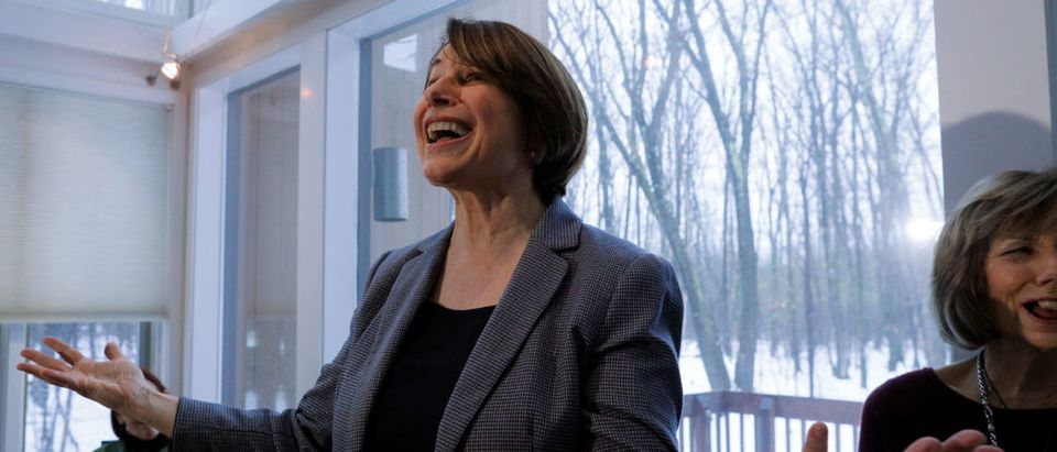 Democratic 2020 U.S. presidential candidate Klobuchar speaks at a campaign house party in Nashua