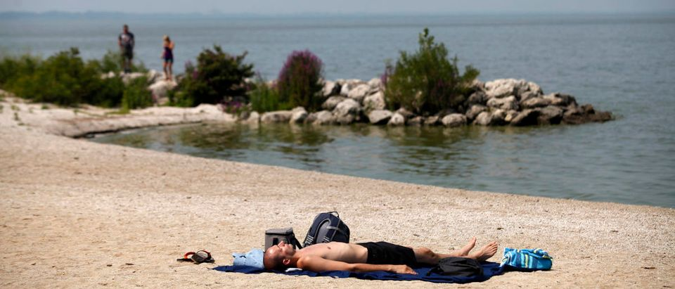 A man sunbathes on the shore line of Maumee Bay State Park public beach along Lake Erie in Oregon, Ohio August 3, 2014. REUTERS/Joshua Lott