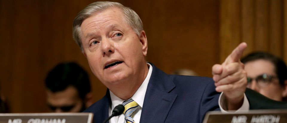 Senate Judiciary Committee member Sen. Lindsey Graham (R-SC) delivers remarks about Brett Kavanaugh during a mark up hearing in the Dirksen Senate Office Building on September 28, 2018. (Chip Somodevilla/Getty Images)