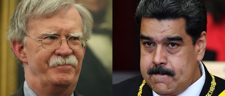 National Security Advisor John Bolton (L) is coping with the Venezuelan crisis caused by dictator Nicolas Maduro (R). Mark Wilson/Getty Images and YURI CORTEZ/AFP/Getty Images