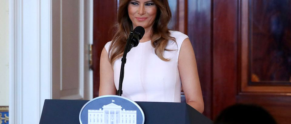 First Lady Melania Trump speaks at a luncheon for governors' spouses in the Blue Room at the White House, on February 26, 2018 in Washington, DC. The nation's governors are in town for their annual meeting with the President. (Photo by Mark Wilson/Getty Images)