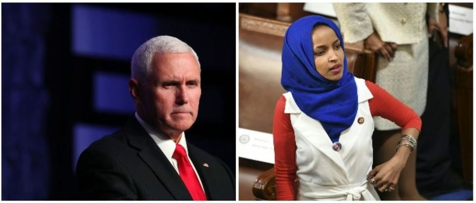 Mike Pence and Ilhan Omar (LEFT: Joe Raedle/Getty Images RIGHT; MANDEL NGAN/AFP/Getty Images)