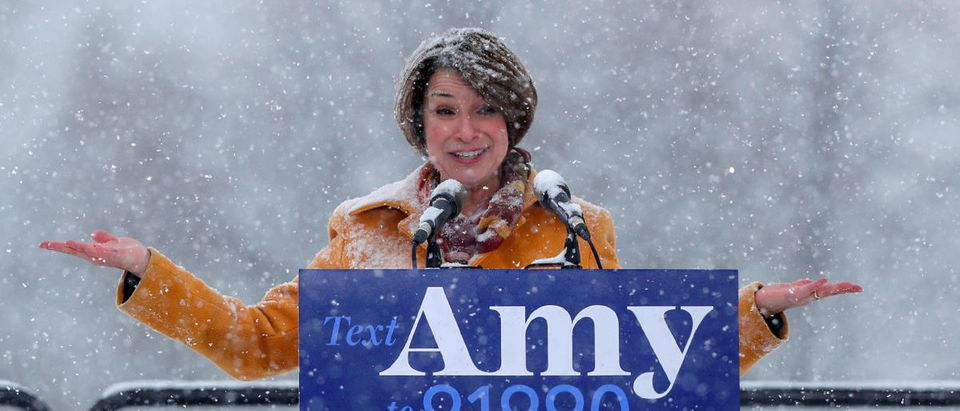 U.S. Senator Amy Klobuchar speaks in Minneapolis