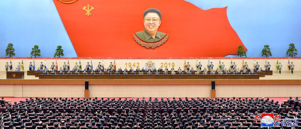 Delegates take part in a national meeting to celebrate the 77th birth anniversary of former North Korean leader Kim Jong-il at Pyongyang Indoor Stadium in Pyongyang, North Korea in this Feb. 15, 2019 KCNA Photo. KCNA via REUTERS