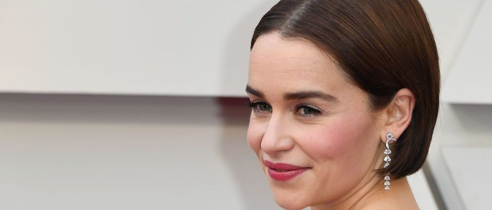 Emilia Clarke arrives for the 91st Annual Academy Awards at the Dolby Theatre in Hollywood, California on February 24, 2019. (Photo credit: MARK RALSTON/AFP/Getty Images)
