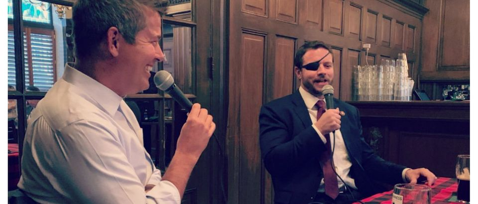 "Republican Texas Rep. Dan Crenshaw revealed to fellow Republican Rep. Sean Duffy of Wisconsin on Wednesday how his ""Saturday Night Live"" appearance transpired in November. Photo Courtesy of Rep. Sean Duffy"
