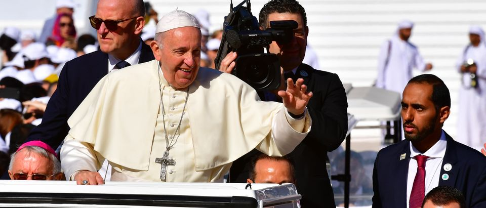 Pope Francis arrives to lead mass for an estimated 170,000 Catholics at the Zayed Sports City Stadium on February 5, 2019. (GIUSEPPE CACACE/AFP/Getty Images)