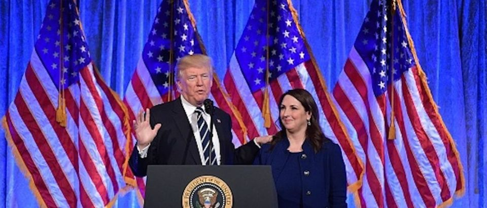 President Donald Trump speaks after his introduction by RNC Chairwoman Ronna Romney McDaniel at a fundraising breakfast in a restaurant in New York, New York on December 2, 2017