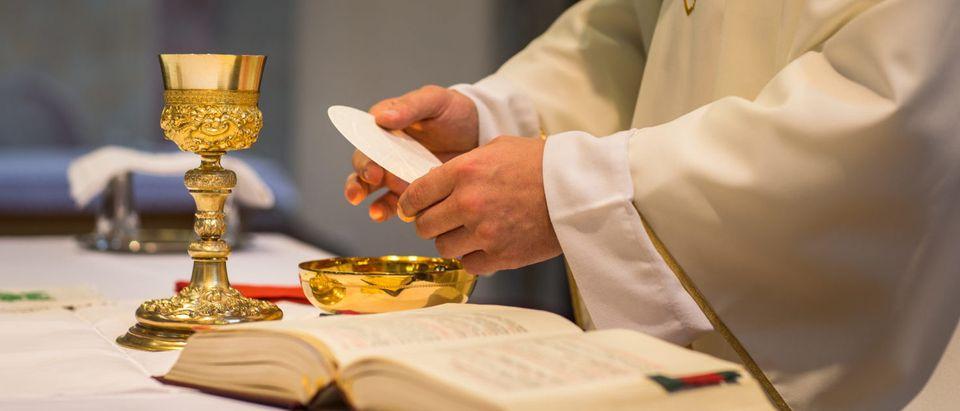 A Catholic priest presides over a wedding ceremony (Shutterstock/ l i g h t p o e t)