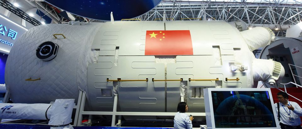 A full-size model of Chinese space station core module Tianhe is seen at the China International Aviation and Aerospace Exhibition, or Zhuhai Airshow, in Zhuhai
