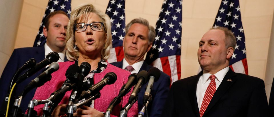 House Republican Conference Chair Liz Cheney speaks at a news conference following leadership elections on Capitol Hill