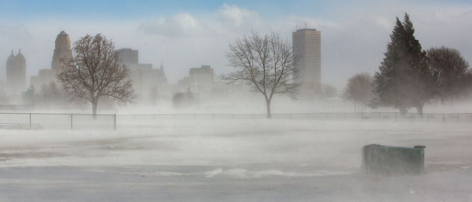 The city skyline is seen in drifting snow during the polar vortex in Buffalo