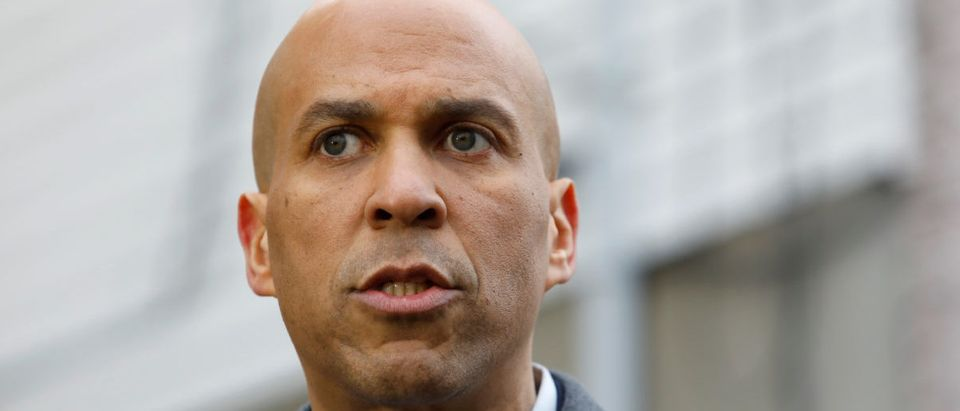 U.S. Senator Cory Booker (D-NJ) speaks to the media outside his home after announcing he will run for president in Newark, New Jersey