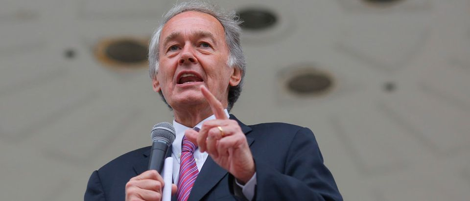 U.S. Sen. Ed Markey speaks to a rally for fast food workers striking for $15 per hour wages and the right to form unions in Boston, Massachusetts, Aug. 29, 2013, REUTERS/Brian Snyder