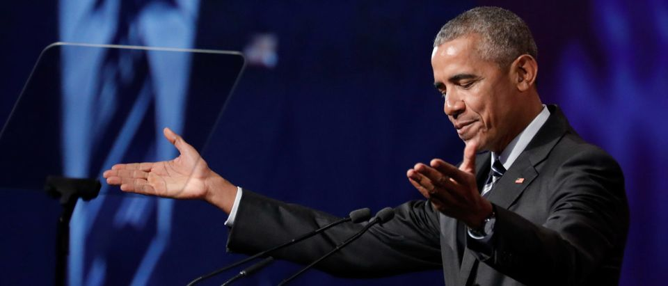Former U.S. President Barack Obama gestures as he delivers his keynote speech to the Montreal Chamber of Commerce at the Palais de Congres in Montreal, Quebec, Canada June 6, 2017. REUTERS/Dario Ayala.