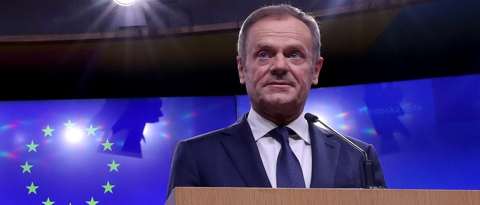 EU Council President Donald Tusk gives a statement after a meeting with Irish Prime MinisterVaradkar at the European Council headquarters in Brussels