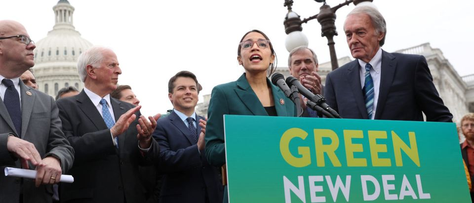 "U.S. Rep. Alexandria Ocasio-Cortez and Sen. Ed Markey hold a news conference for their proposed ""Green New Deal"" to achieve net-zero greenhouse gas emissions in 10 years, at the U.S. Capitol in Washington, U.S., Feb. 7, 2019. REUTERS/Jonathan Ernst"