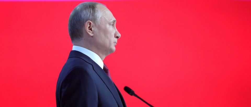 Russian President Vladimir Putin addresses the Federal Assembly in Moscow