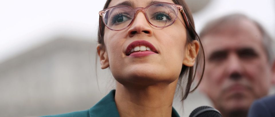 """U.S. Rep. Alexandria Ocasio-Cortez speaks during a news conference for a proposed """"Green New Deal"""" to achieve net-zero greenhouse gas emissions in 10 years, at the U.S. Capitol in Washington, U.S., Feb. 7, 2019. REUTERS/Jonathan Ernst/File Photo"""