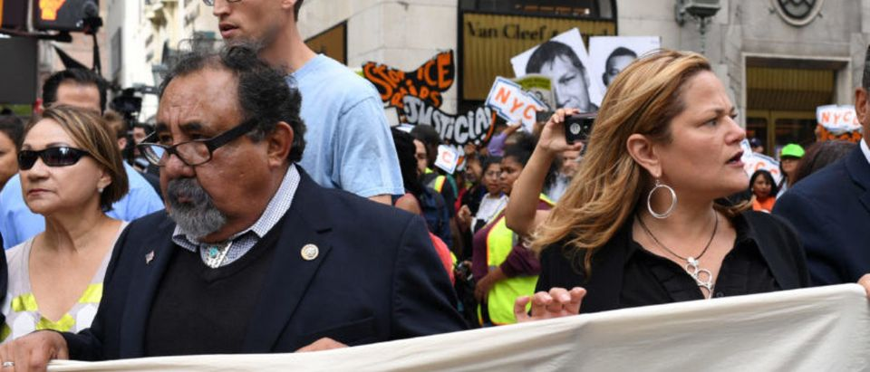 Congressman Adriano Espaillat (R), Speaker of the New York City Council Melissa Mark-Viverito (C), and Congressman Raul Grijalva (L) march onto 5th Avenue to block traffic, before getting arrested, during a rally to demand that U.S. President Donald Trump works with Congress to pass a clean DREAM Act on the sideline of the United Nations General Assembly in New York City, U.S. September 19, 2017. REUTERS/Darren Ornitz