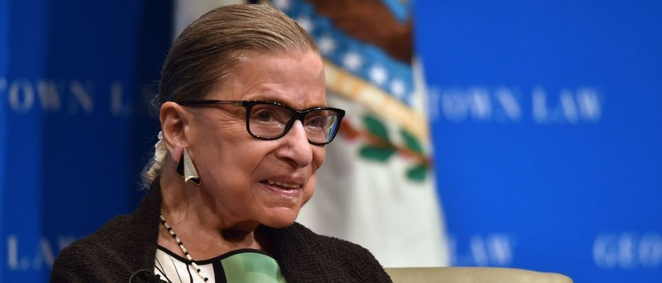 Justice Ruth Bader Ginsburg speaks to Georgetown University law students on September 20, 2017. (Nicholas Kamm/AFP/Getty Images)