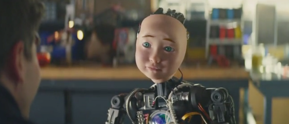 Turbo Tax Super Bowl Ad features robot. Screen Shot/CBS