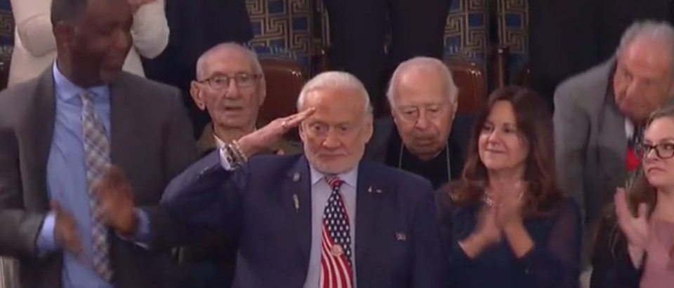 Buzz Aldrin salutes the president at the SOTU. Screen Shot/Fox News