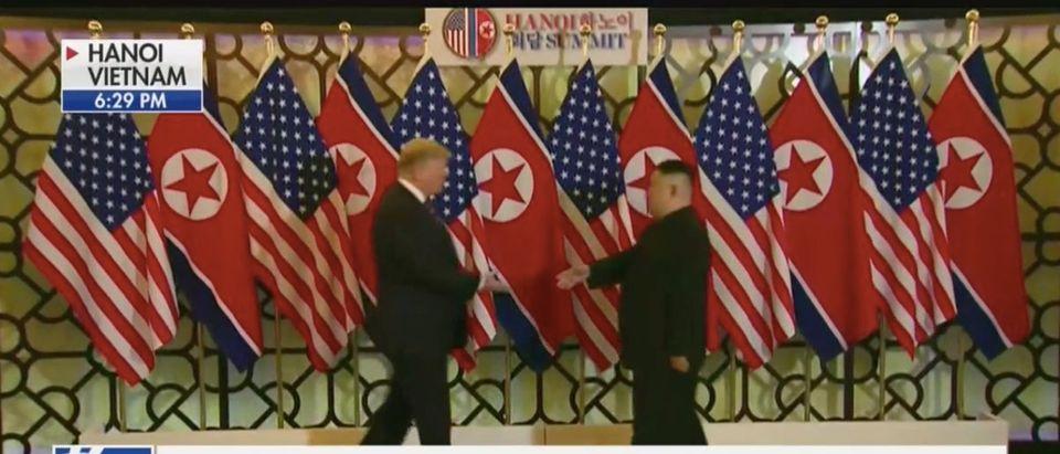 Trump And Kim Prepare To Shake Hands In Vietnam (Fox News Screenshot: February 27, 2019)