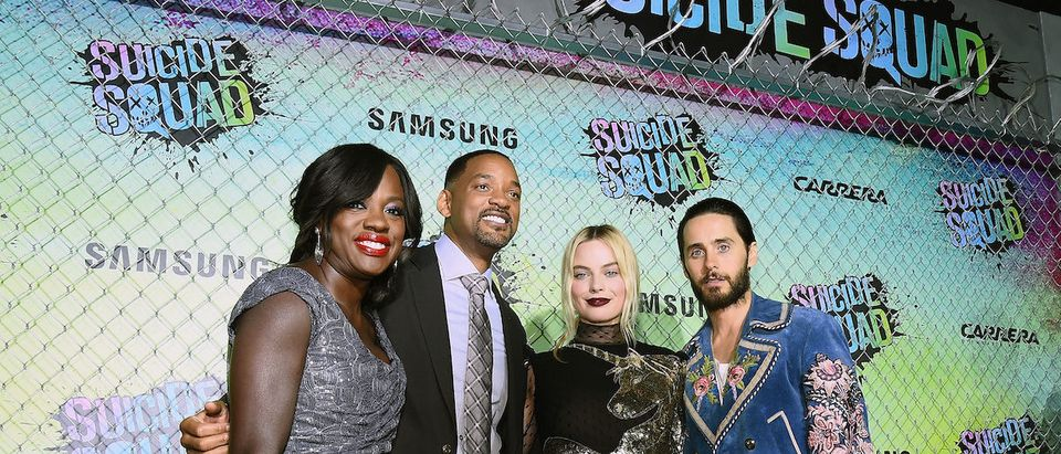 Actors Viola Davis, Will Smith, Margot Robbie, and Jared Leto celebrate the Premiere of 'Suicide Squad' with Samsung at Beacon Theatre on August 1, 2016 in New York, New York. (Photo by Ilya S. Savenok/Getty Images for Samsung)