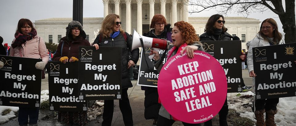 Protesters on both sides of the abortion issue gather in front of the Supreme Court building during the Right To Life March, on January 18, 2019. (Photo by Mark Wilson/Getty Images)