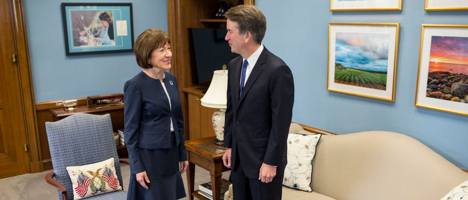Brett Kavanaugh meets with Sen. Susan Collins in her office on Capitol Hill on Aug. 21, 2018. (Zach Gibson/Getty Images)